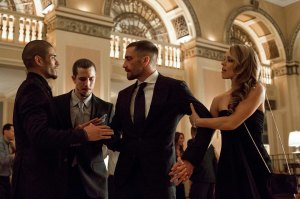 Billy, Maureen and the Hope entourage in the lobby after the gala; Miguel intercepts Billy, leading to tragedy. MG, BF, JG, RM